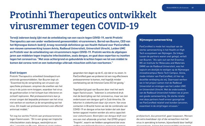 Protinhi werkt aan virusremmer tegen Covid-19