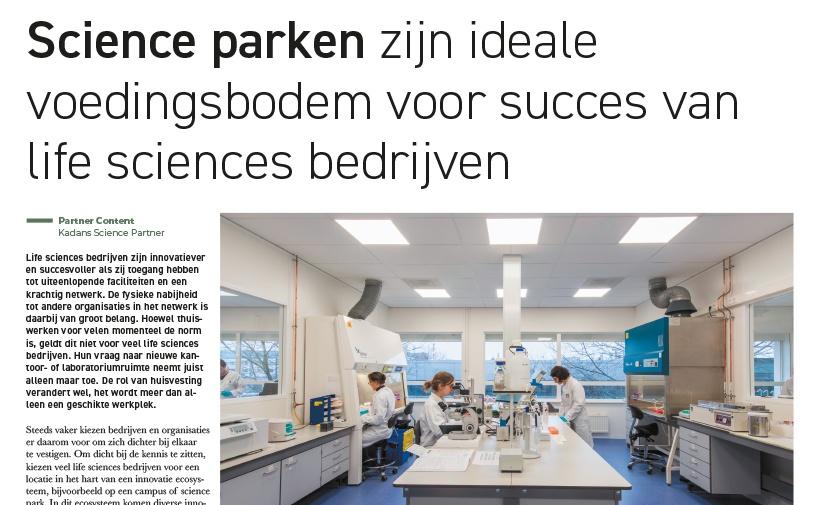 Science parken zijn ideale voedingsbodem voor succes van life sciences bedrijven